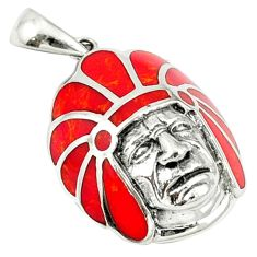Red coral enamel 925 sterling silver pendant jewelry a40104
