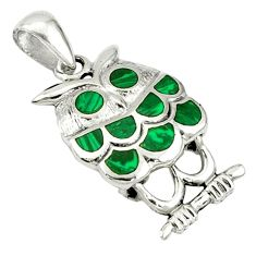 925 sterling silver natural green malachite (pilot's stone) owl pendant a40107