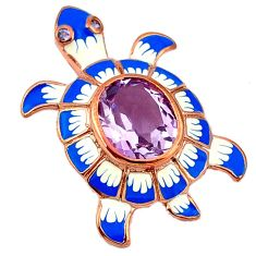 Natural pink amethyst enamel 925 sterling silver turtle pendant jewelry a40912