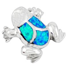 925 sterling silver blue australian opal (lab) enamel frog pendant a41011
