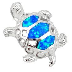 Blue australian opal (lab) enamel 925 silver turtle pendant jewelry a41036