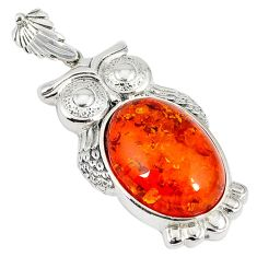 Orange amber oval 925 sterling silver owl pendant jewelry a42066