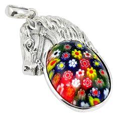 Multi color italian murano glass 925 sterling silver horse pendant a42085