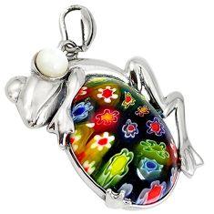 Multi color italian murano glass pearl 925 silver frog pendant jewelry a42139