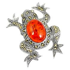 Orange amber marcasite 925 sterling silver frog pendant jewelry a42517