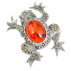 925 sterling silver orange amber marcasite frog pendant jewelry a42518