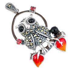 Natural black onyx marcasite enamel 925 sterling silver owl pendant a42530