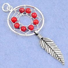 925 sterling silver red coral round dreamcatcher pendant jewelry a42895