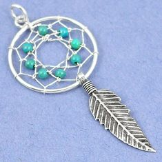 Fine blue turquoise 925 sterling silver dreamcatcher pendant jewelry a42897