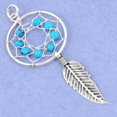 Fine blue turquoise 925 sterling silver dreamcatcher pendant jewelry a42903