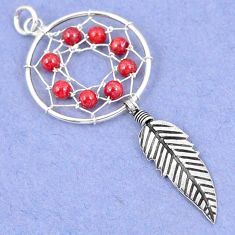 925 sterling silver red coral round dreamcatcher pendant jewelry a42904