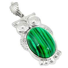 Natural green malachite (pilot's stone) 925 silver owl pendant jewelry a43263