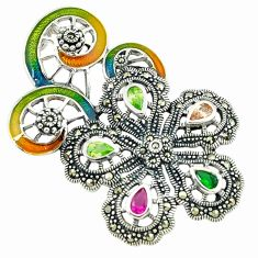 Natural champagne topaz multi color enamel 925 silver flower pendant a43588