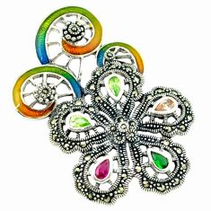 Natural champagne topaz multi color enamel 925 silver flower pendant a43593