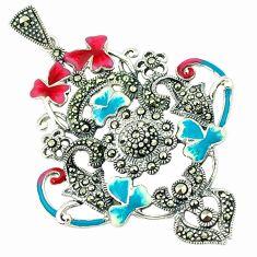 925 sterling silver fine marcasite enamel flower pendant jewelry a43595