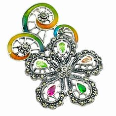 925 silver natural champagne topaz multi color enamel flower pendant a43597