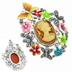 Natural honey onyx marcasite enamel 925 sterling silver flower pendant a43600