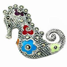 Fine marcasite enamel 925 sterling silver seahorse pendant jewelry a43666