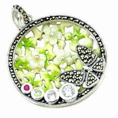 Natural white topaz ruby quartz enamel 925 sterling silver pendant a43718