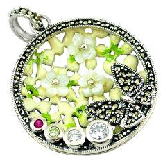 Natural white topaz ruby quartz enamel 925 silver pendant jewelry a43720