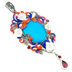 Blue sleeping beauty turquoise red garnet enamel 925 silver pendant a44105