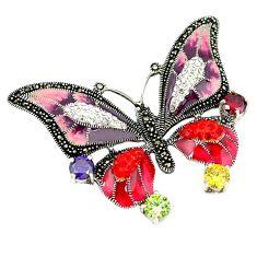 Natural purple amethyst topaz enamel 925 silver butterfly pendant a44121
