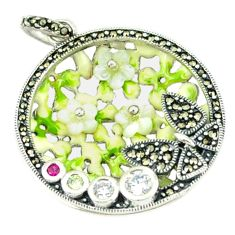 Natural white topaz ruby quartz enamel 925 silver pendant jewelry a44261