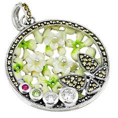 Natural white topaz ruby quartz enamel 925 sterling silver pendant a44288