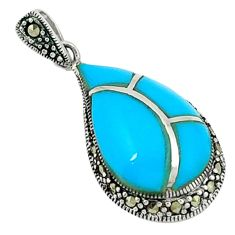 925 silver blue sleeping beauty turquoise marcasite pendant jewelry a44432