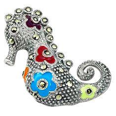 Fine marcasite enamel 925 sterling silver seahorse pendant jewelry a44446