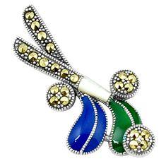 Fine marcasite multi color enamel 925 silver golf stick charm pendant a44486