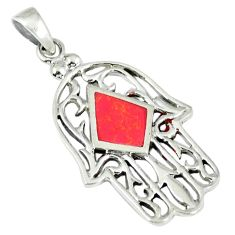 3.24gms red coral enamel 925 sterling silver hand of god hamsa pendant a45705