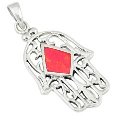 3.02gms red coral enamel 925 sterling silver hand of god hamsa pendant a45819