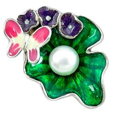 Natural white pearl enamel 925 sterling silver butterfly pendant jewelry a46783