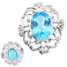 Natural blue topaz 925 sterling silver brooch pendant jewelry a47662
