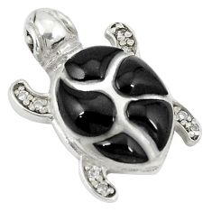 Clearance Sale-Natural black onyx topaz 925 sterling silver turtle pendant jewelry a49628