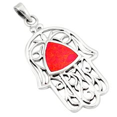 Clearance Sale-Red sponge coral 925 silver hand of god hamsa pendant jewelry a50135