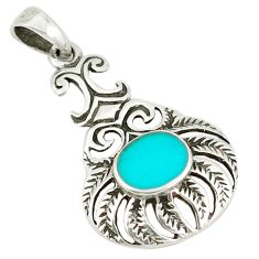 Clearance Sale-Fine green turquoise 925 sterling silver pendant jewelry a50169