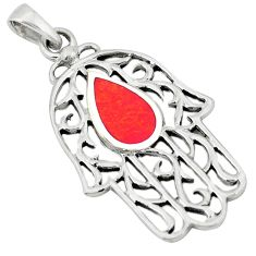 Clearance Sale-Red coral enamel 925 sterling silver hand of god hamsa pendant a50235