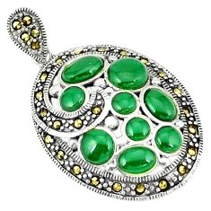 Clearance Sale-925 sterling silver natural green chalcedony marcasite pendant jewelry a51318