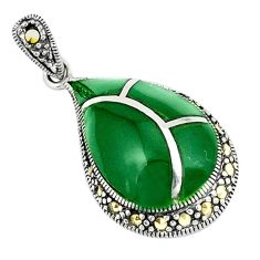 Clearance Sale-925 sterling silver natural green chalcedony marcasite pendant jewelry a51378