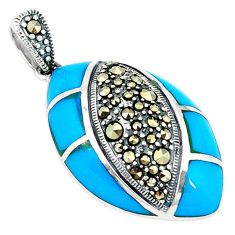 Clearance Sale-Blue sleeping beauty turquoise marcasite 925 silver pendant a51391