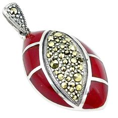 Clearance Sale-Natural honey onyx marcasite 925 sterling silver pendant jewelry a51399