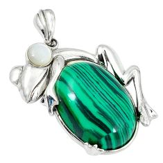 Clearance Sale-Natural green malachite (pilot's stone) 925 silver frog pendant jewelry a51849