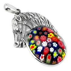 Clearance Sale-Multi color italian murano glass 925 silver horse pendant jewelry a51876