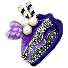 Clearance Sale-Natural white pearl marcasite enamel 925 sterling silver cake pendant a52198