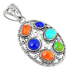 Clearance Sale-Southwestern multi color copper turquoise 925 silver pendant jewelry a54276