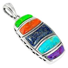 Clearance Sale-Southwestern multi color copper turquoise 925 silver pendant jewelry a54351