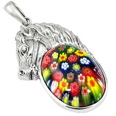 Clearance Sale-Multi color italian murano glass 925 silver horse pendant jewelry a55232