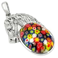 Clearance Sale-Multi color italian murano glass 925 silver horse pendant jewelry a55238